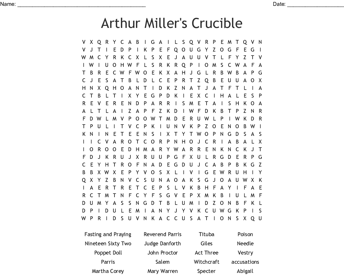 Arthur Miller's Crucible Word Search - WordMint