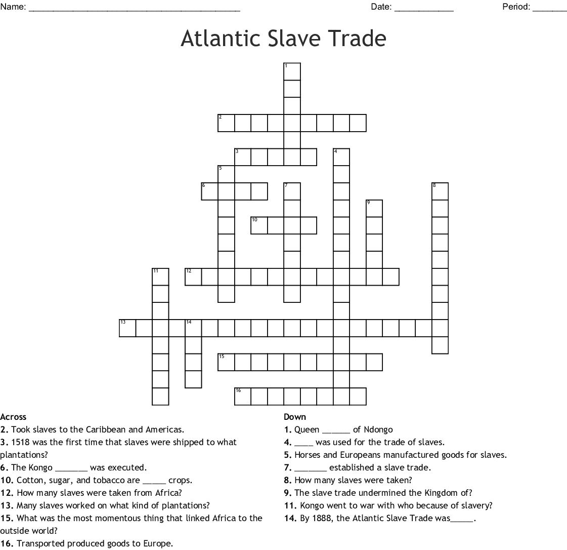 Slavery Crossword Wordmint