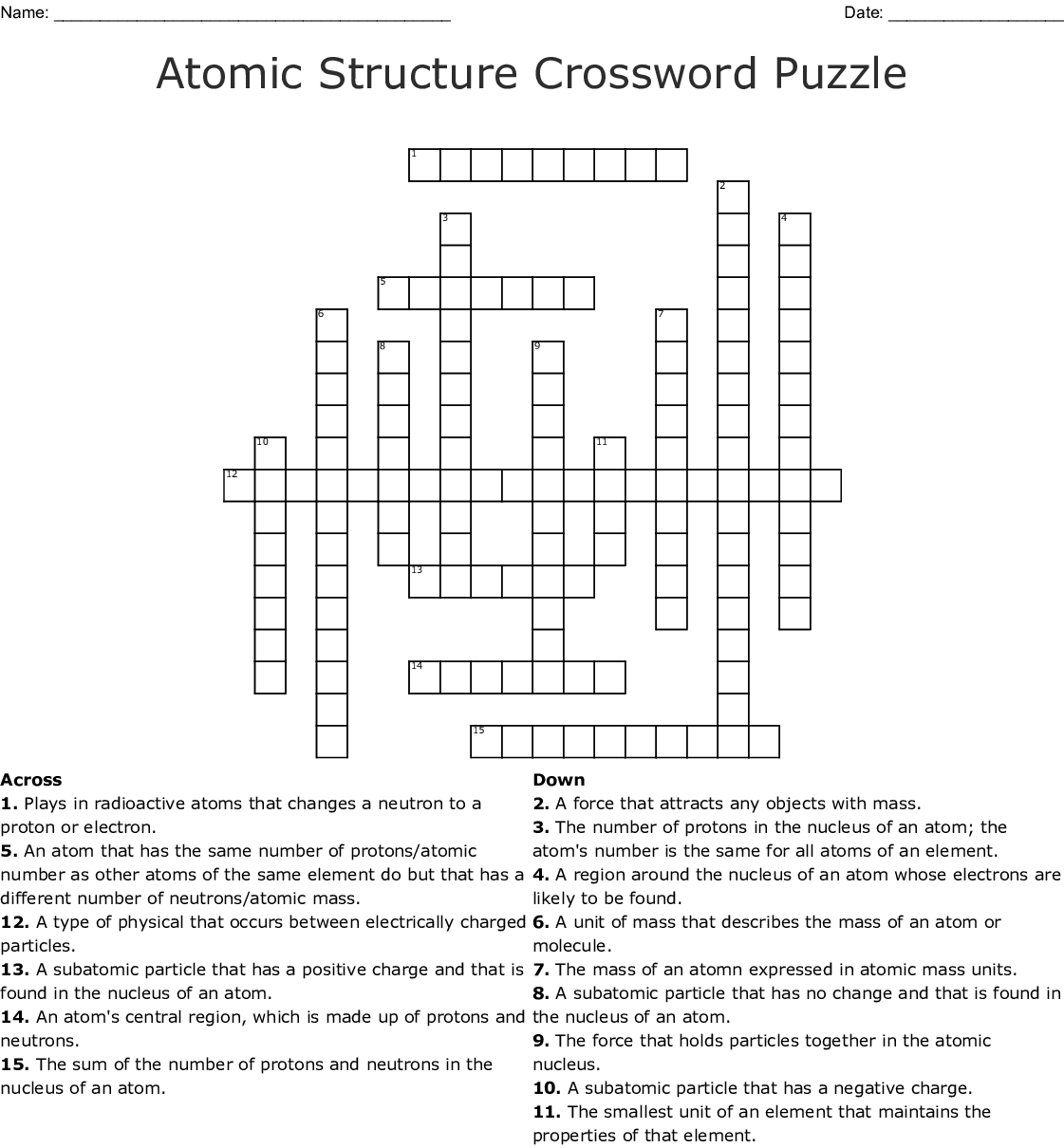 Atomic Structure Crossword Puzzle Wordmint