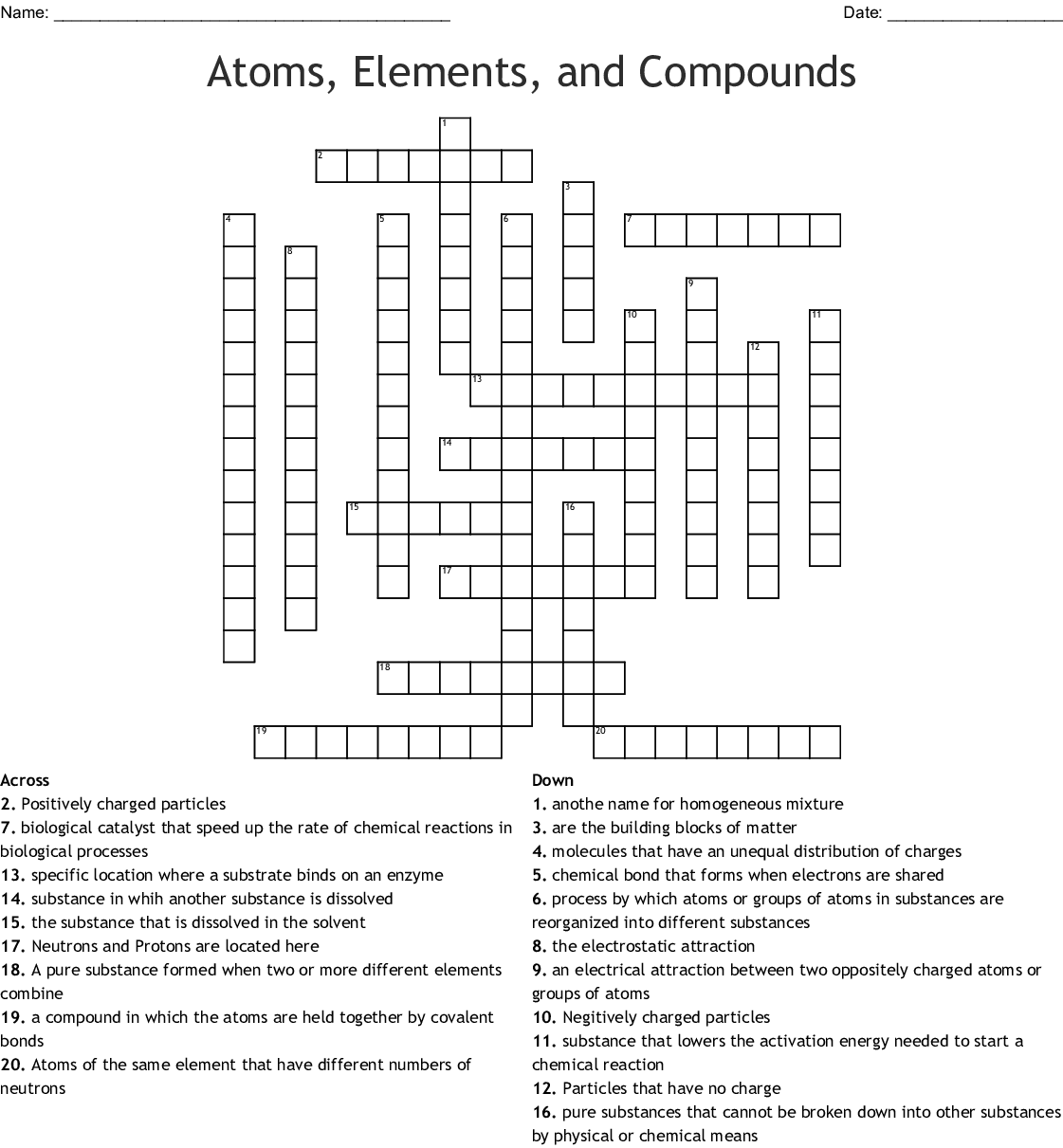 Atoms, Elements, and Compounds Crossword - WordMint