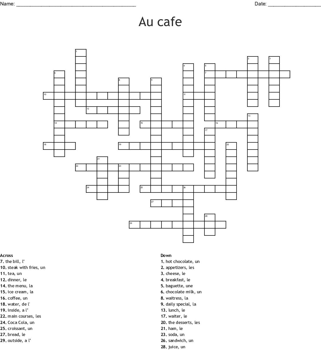 Mots croisés - La nourriture Crossword - WordMint