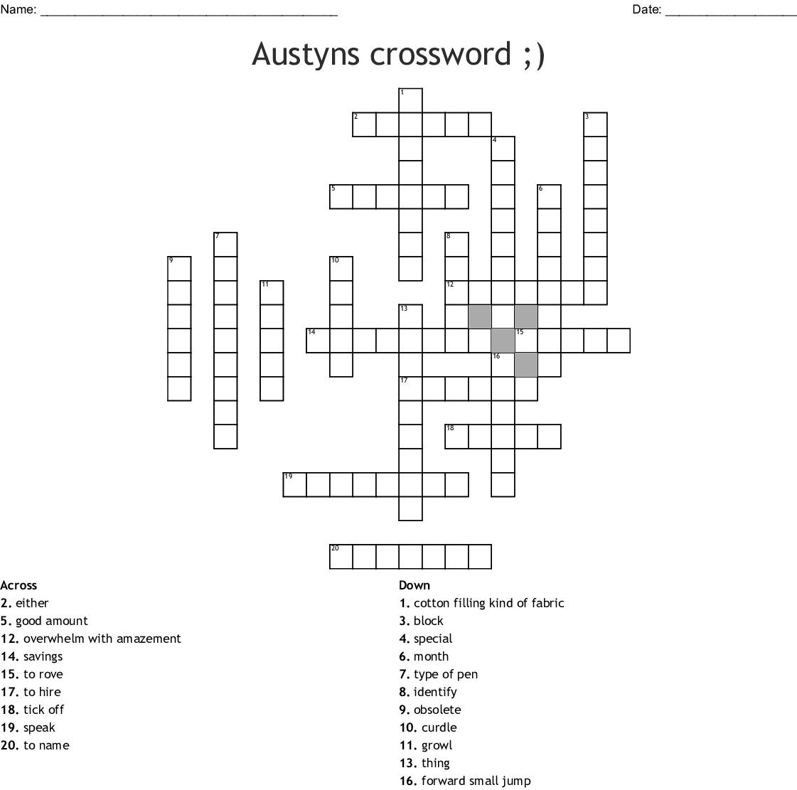 Matthew S Crossword Puzzle Wordmint
