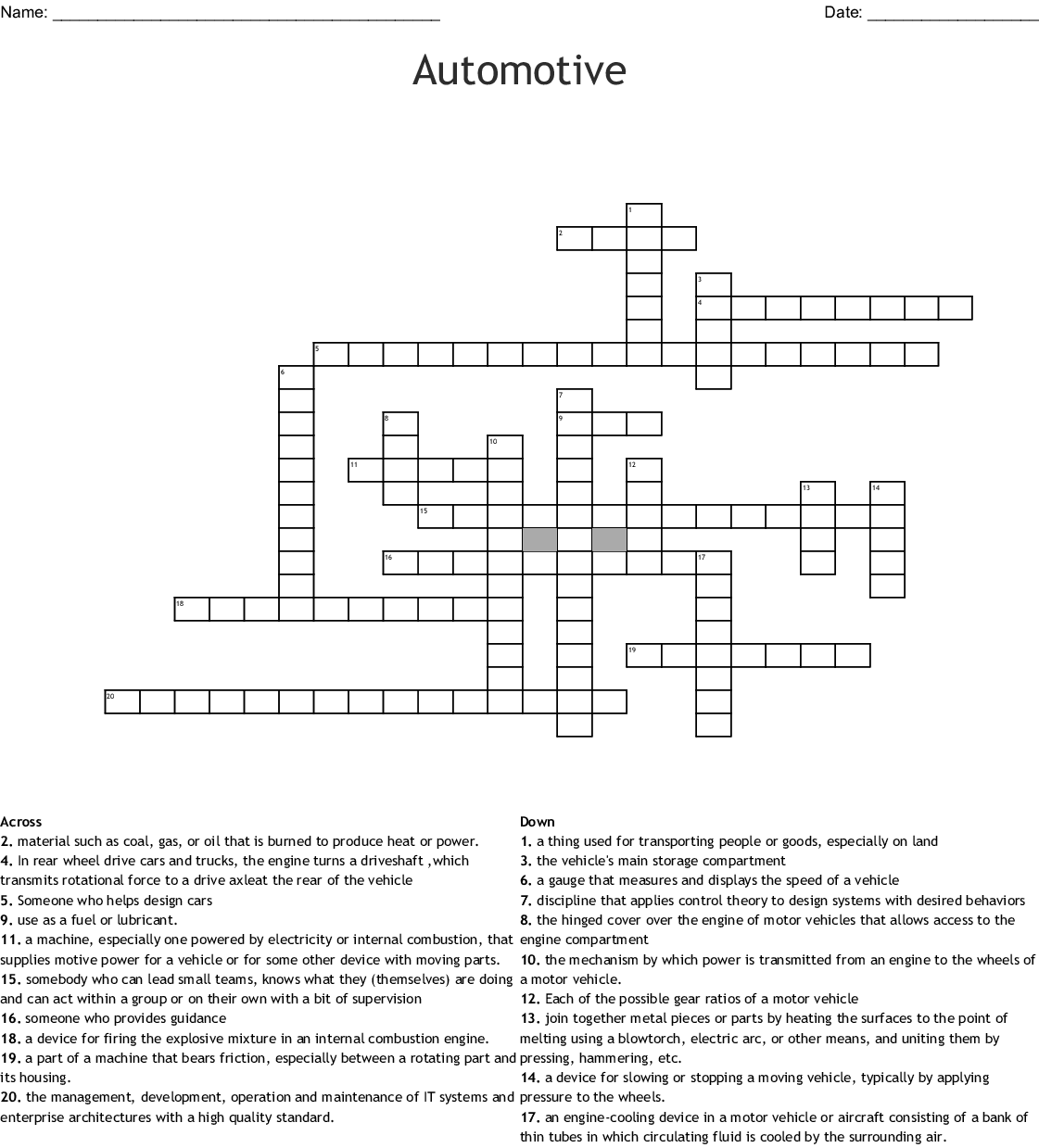 Automotive Crossword Wordmint