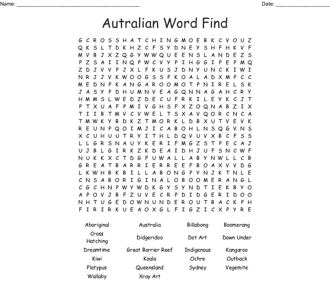 Aboriginal Word Search - WordMint