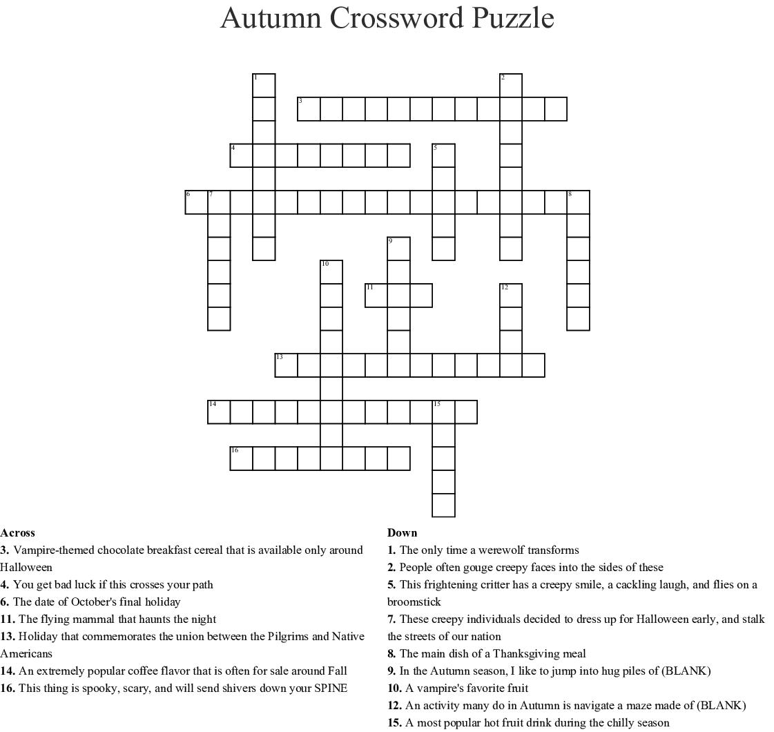 Thanksgiving Crossword Puzzle Wordmint