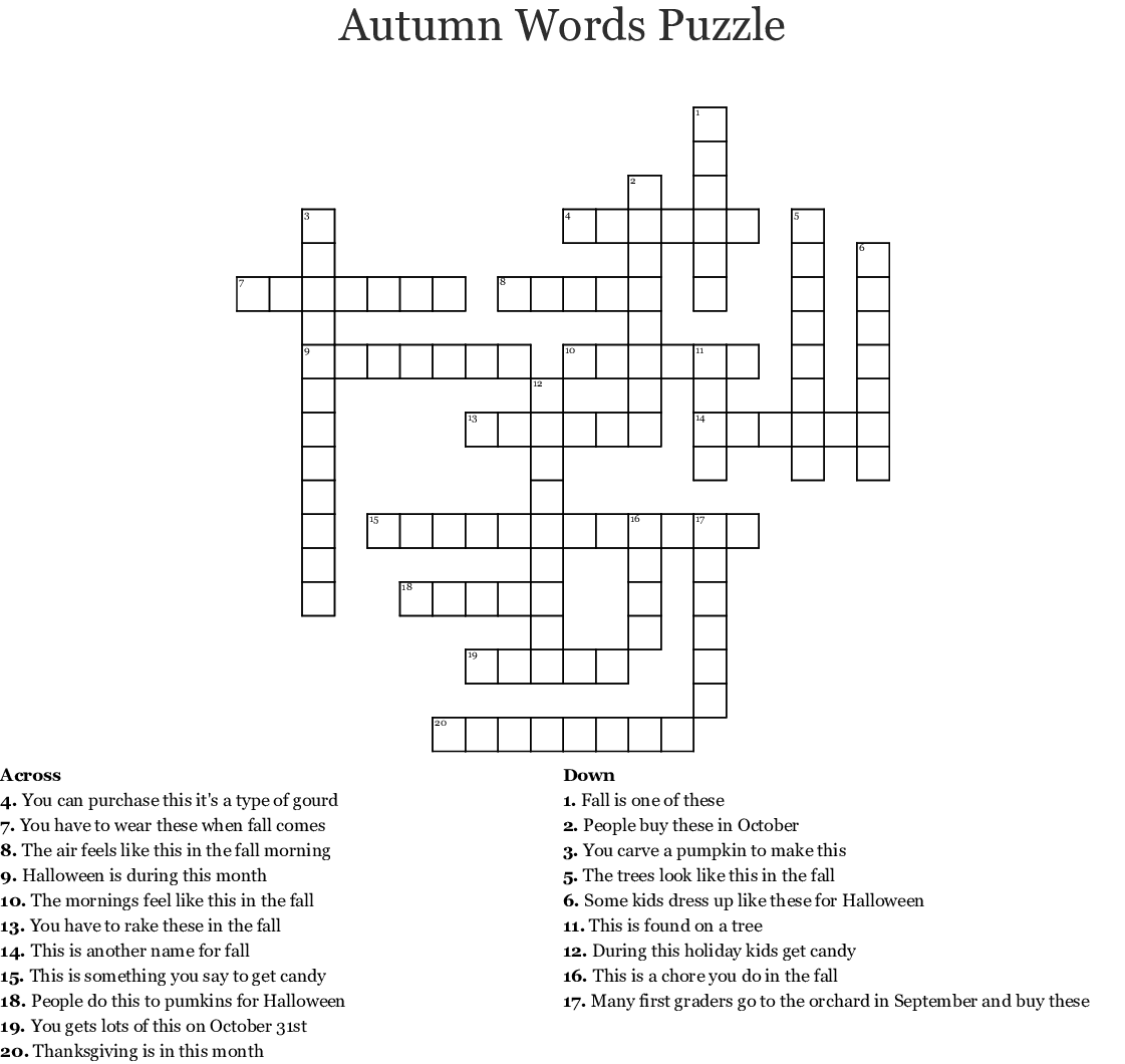 This is an image of Fall Crossword Puzzle Printable throughout large print