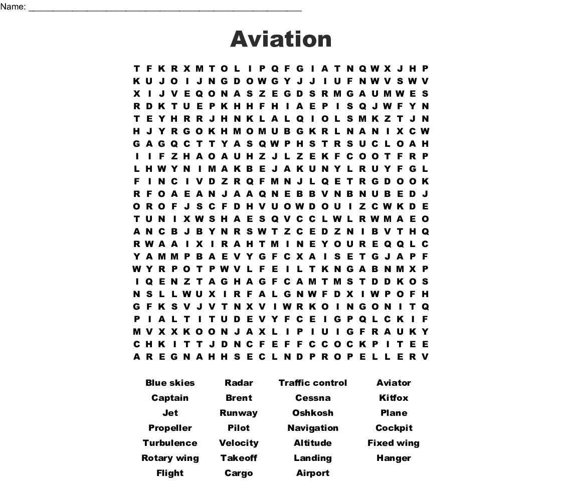 Aviation Word Search - WordMint