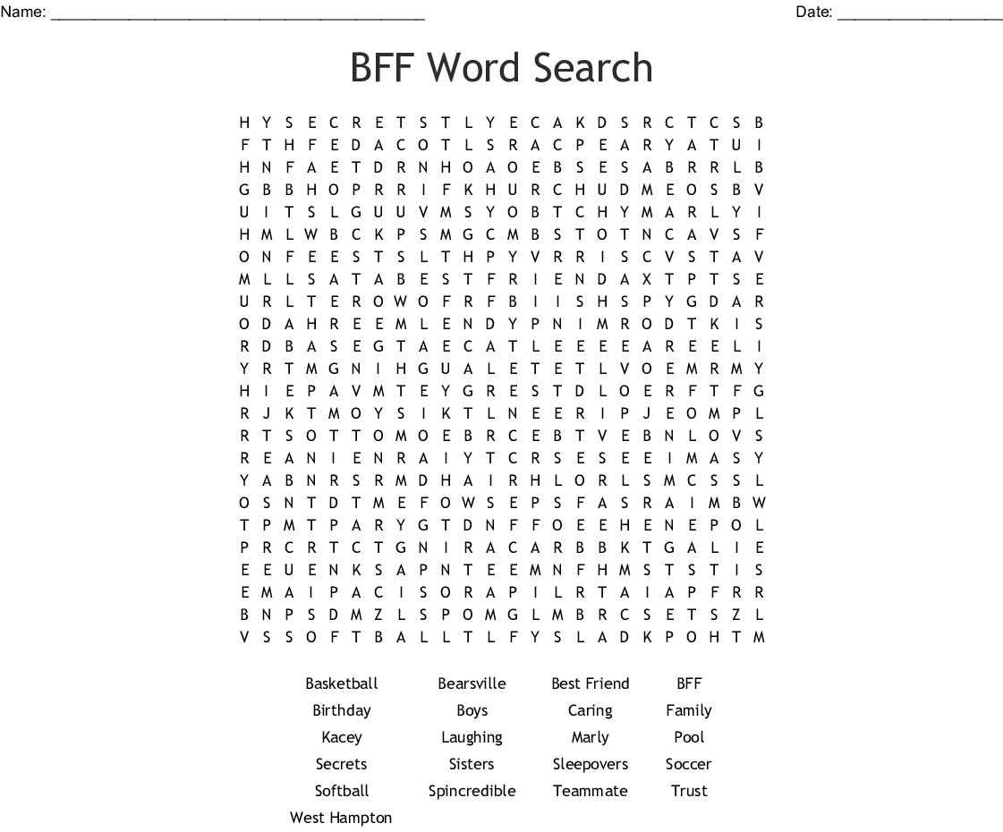 BFF Word Search - WordMint