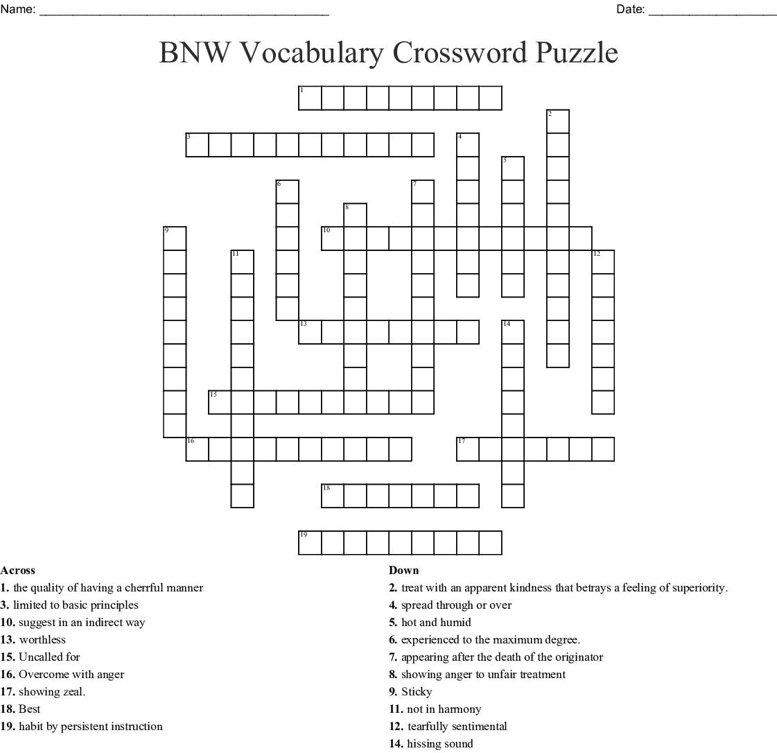 BNW Vocabulary Crossword Puzzle Crossword - WordMint
