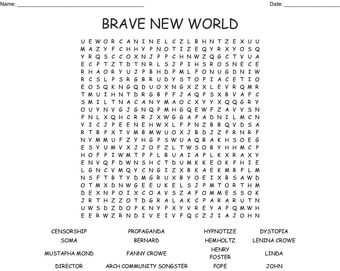 BRAVE NEW WORLD Word Search - WordMint
