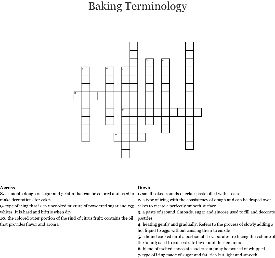 Cake Decorating Items Word Search Wordmint