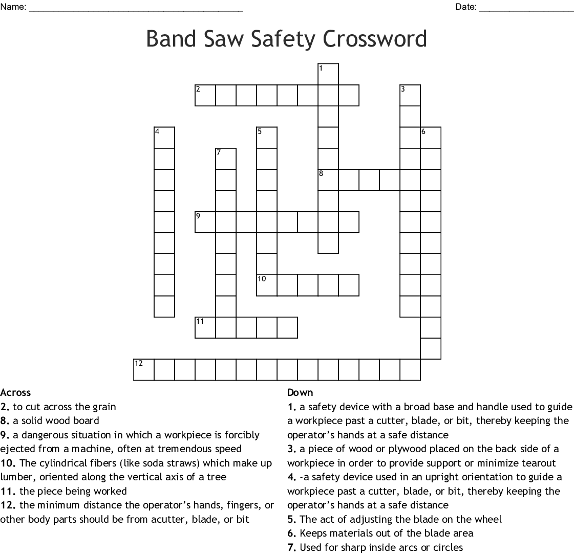 Band Saw Safety Crossword Wordmint