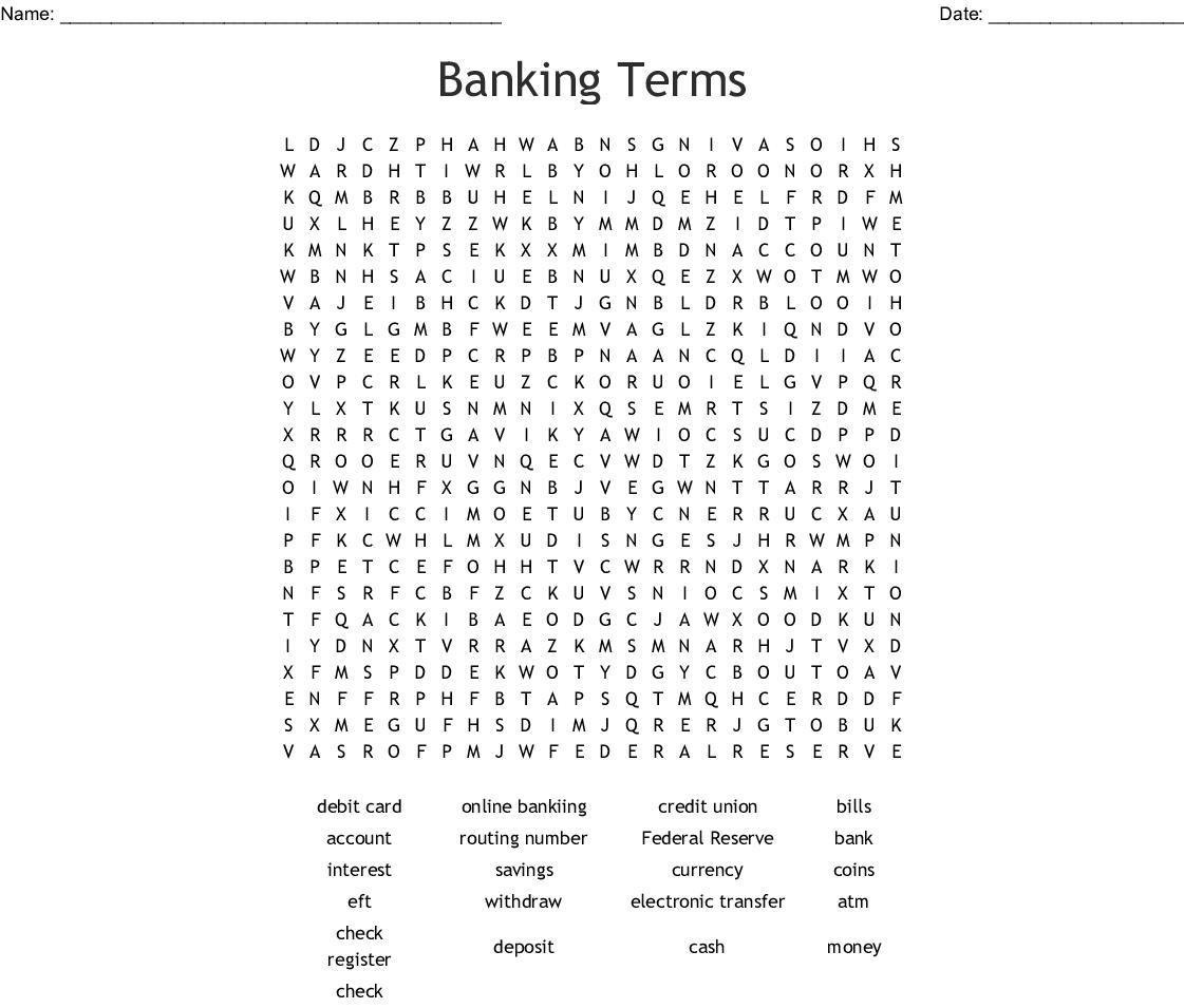 Money Vocabulary Crossword - WordMint