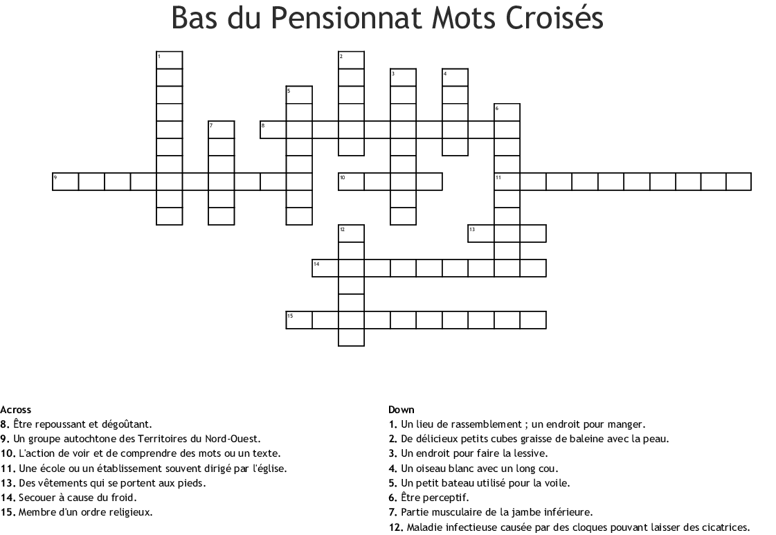Bas Du Pensionnat Mots Croises Crossword Wordmint