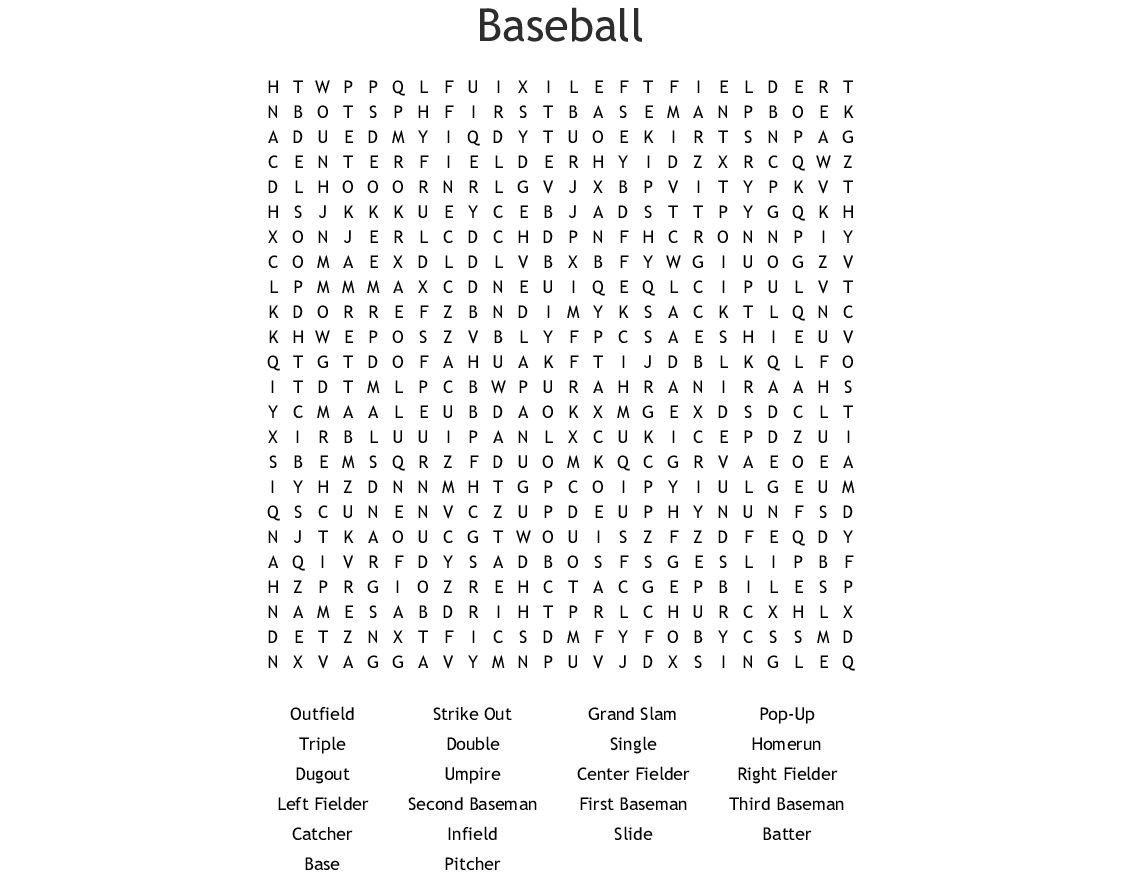 Baseball Crossword Wordmint