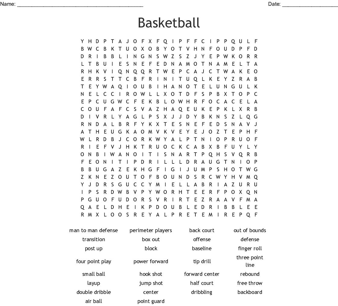 Basketball Crosswords, Word Searches, Bingo Cards - WordMint
