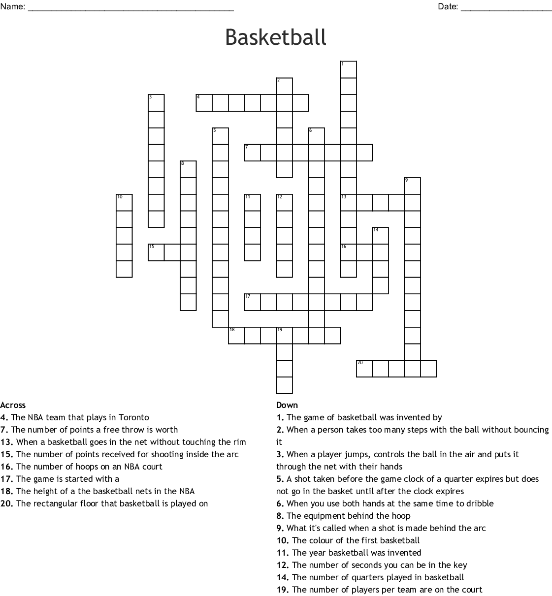 basketball crossword - WordMint