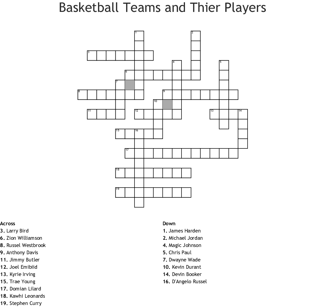 Basketball Crosswords, Word Searches, Bingo Cards - WordMint