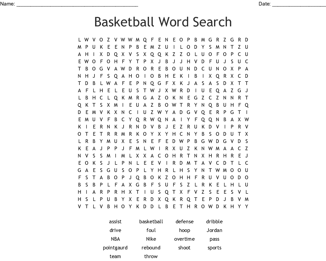 Basketball Word Search - WordMint