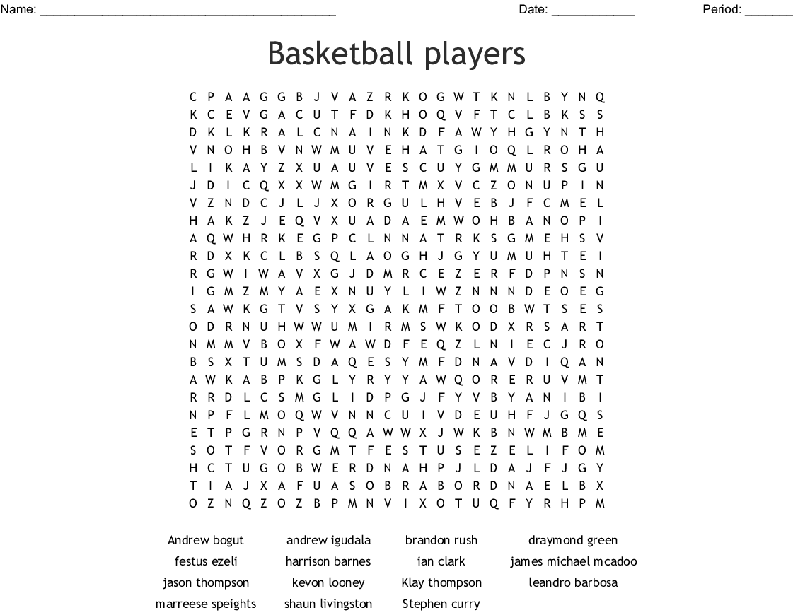 Golden State Warriors Word Search - WordMint