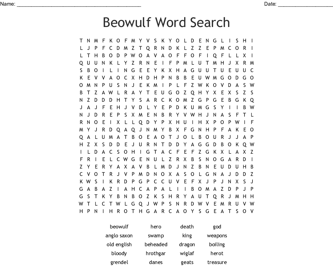 Beowulf And The Heros Journey Word Search Wordmint