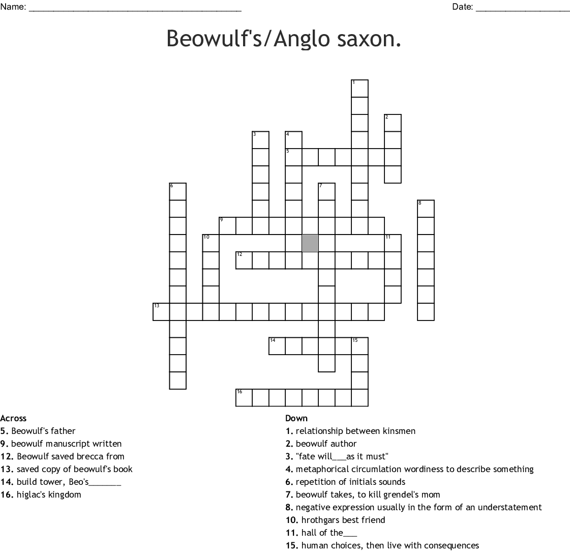 Beowulf Word Search - WordMint