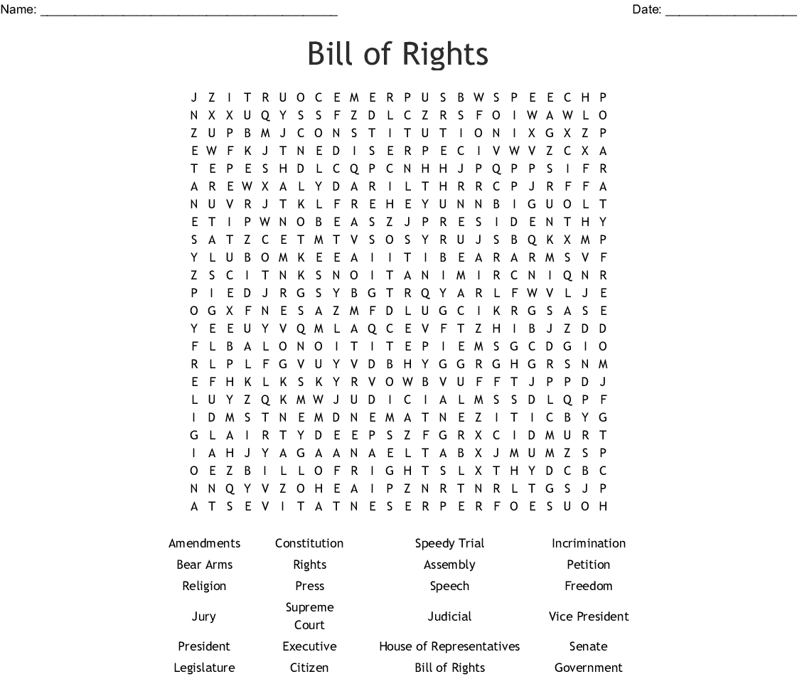 picture relating to Printable Bill of Rights known as Monthly bill of Legal rights Phrase Seem - WordMint