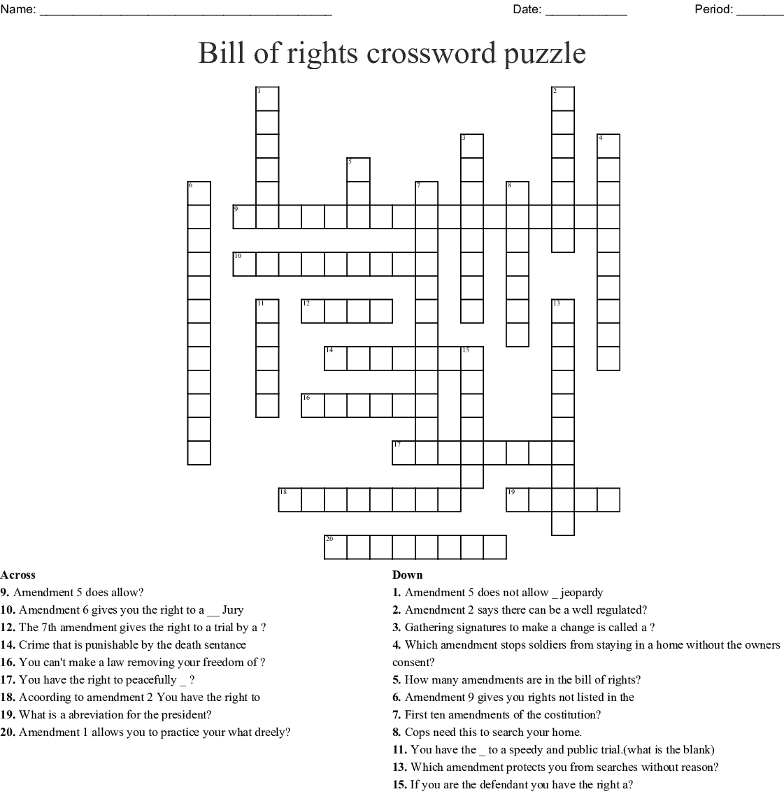 photograph relating to Bill of Rights Quiz Printable identify Consution Monthly bill of Legal rights Crossword - WordMint