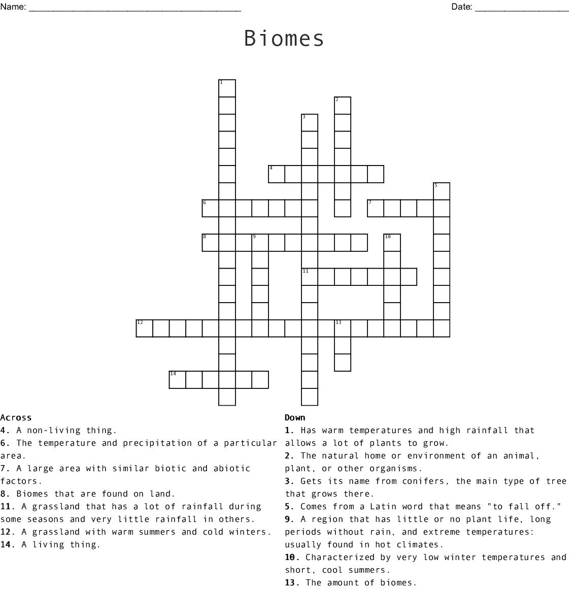 Biomes Crossword - WordMint