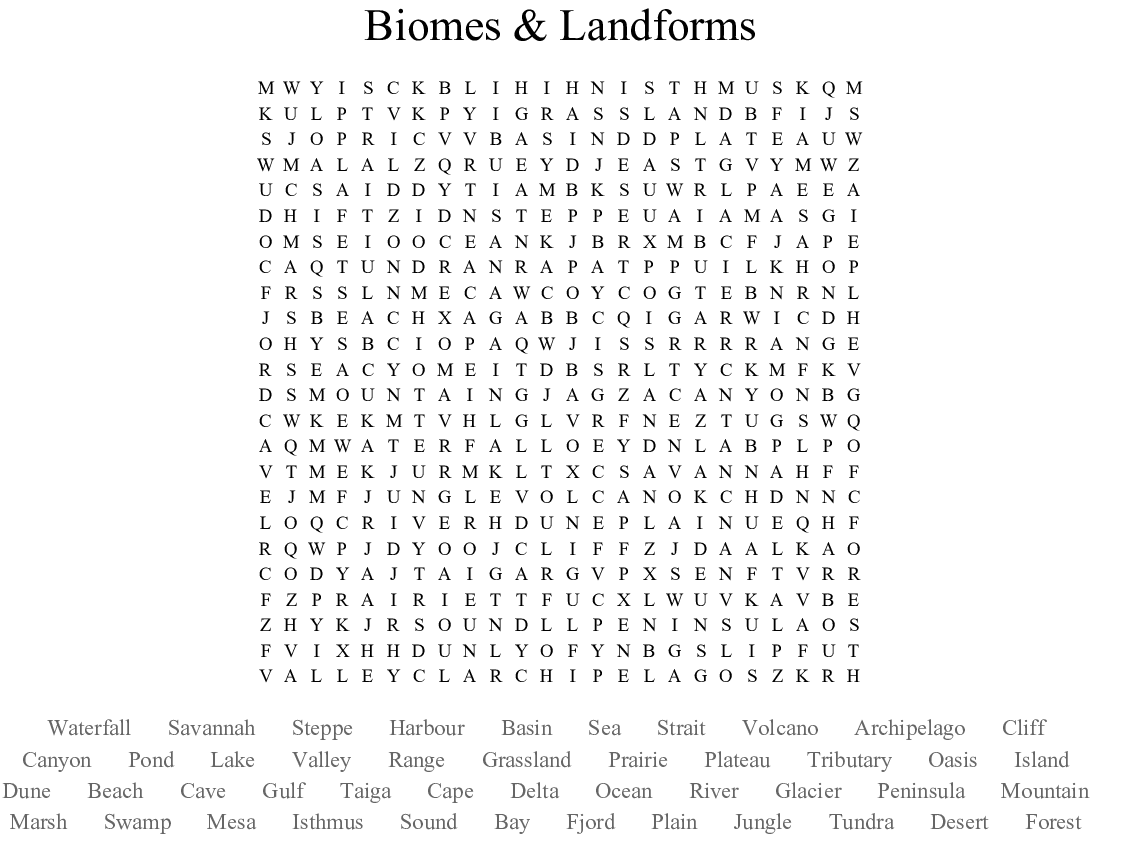 Biomes & Landforms Word Search - WordMint