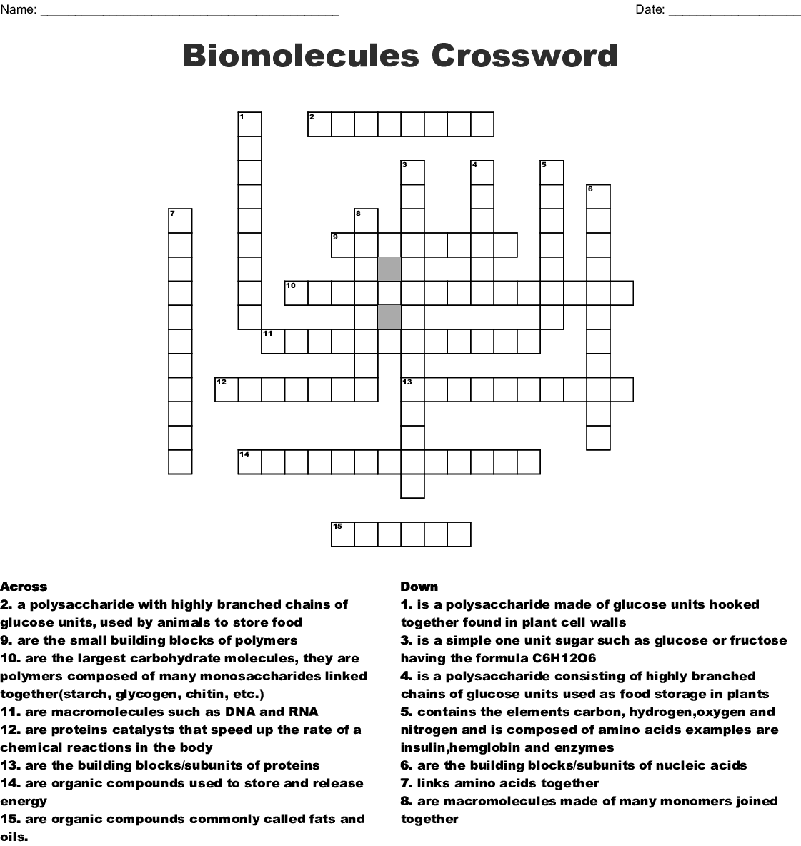 Organic Chemistry Crossword Wordmint