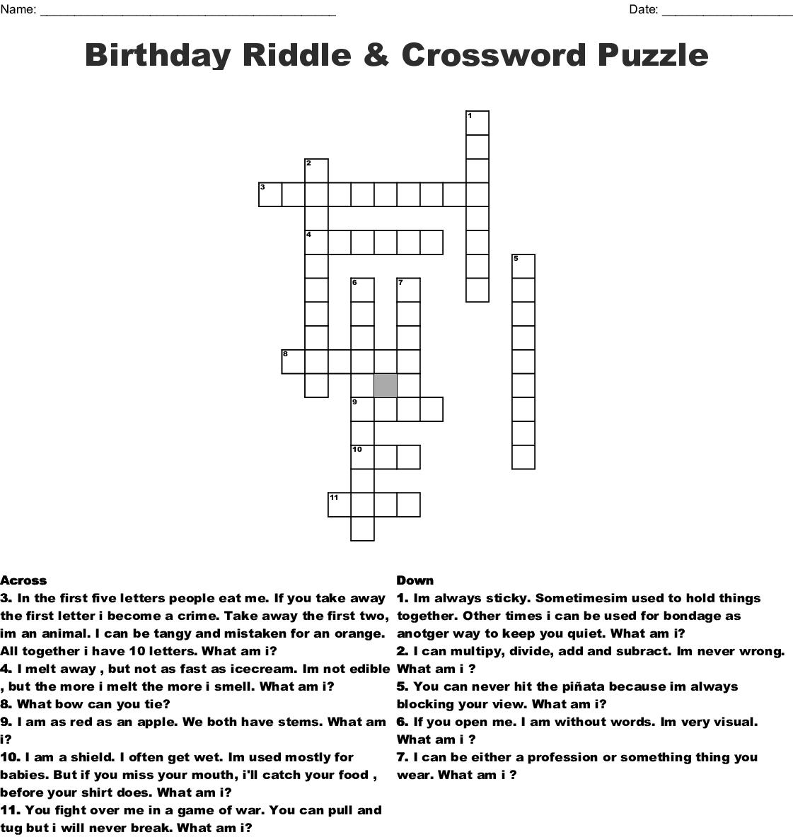 Birthday Riddle Crossword Puzzle Wordmint