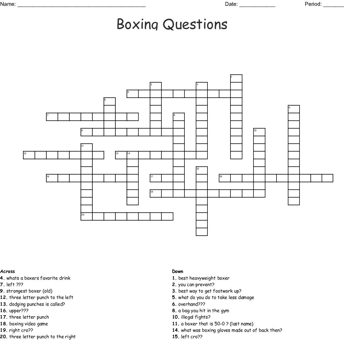 Boxing Crossword - WordMint