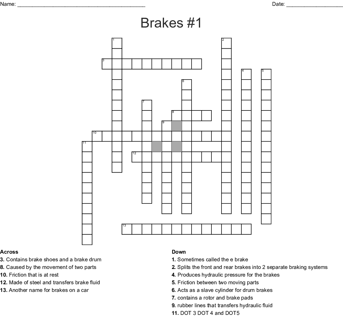 Brakes Test 2 Crossword Wordmint
