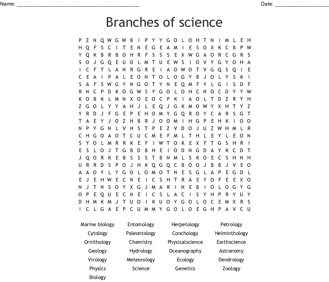 branches of science word search wordmint. Black Bedroom Furniture Sets. Home Design Ideas