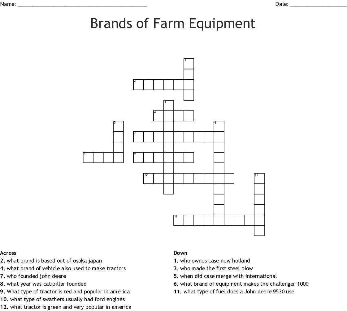 Brands Of Farm Equipment Crossword Wordmint