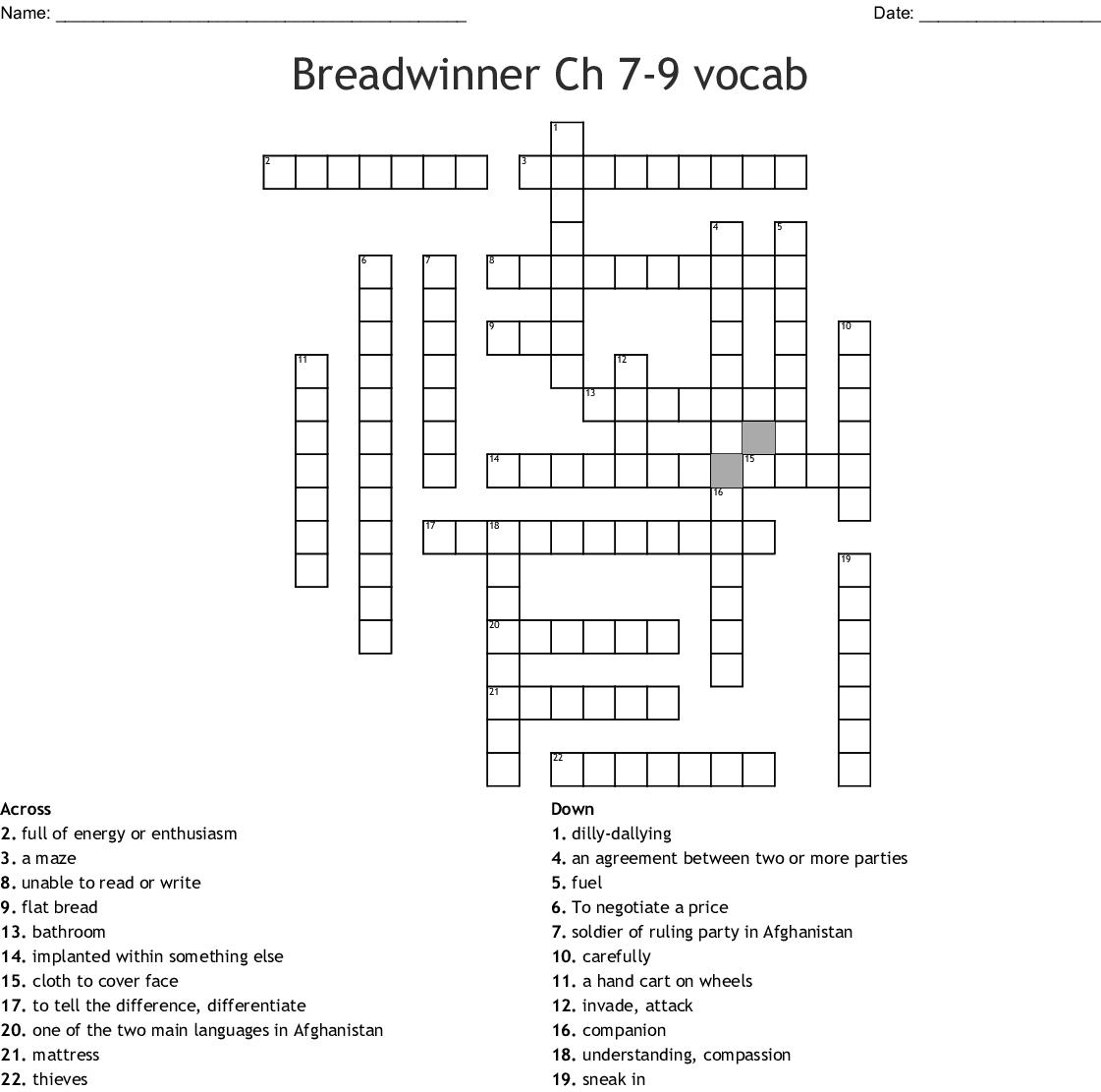 Breadwinner Ch 7 9 Vocab Crossword Wordmint