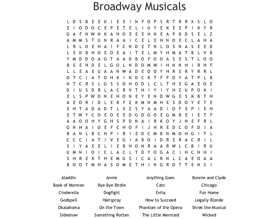 Broadway Musicals Word Search Wordmint