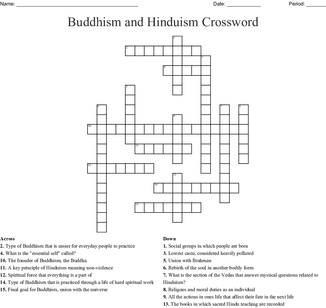 Buddhism And Hinduism Crossword Wordmint