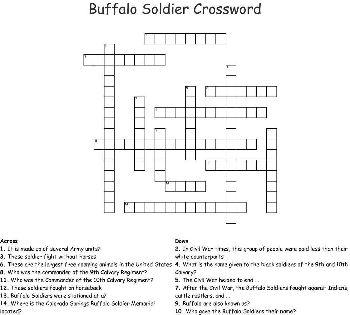 Buffalo Soldier Crossword Wordmint