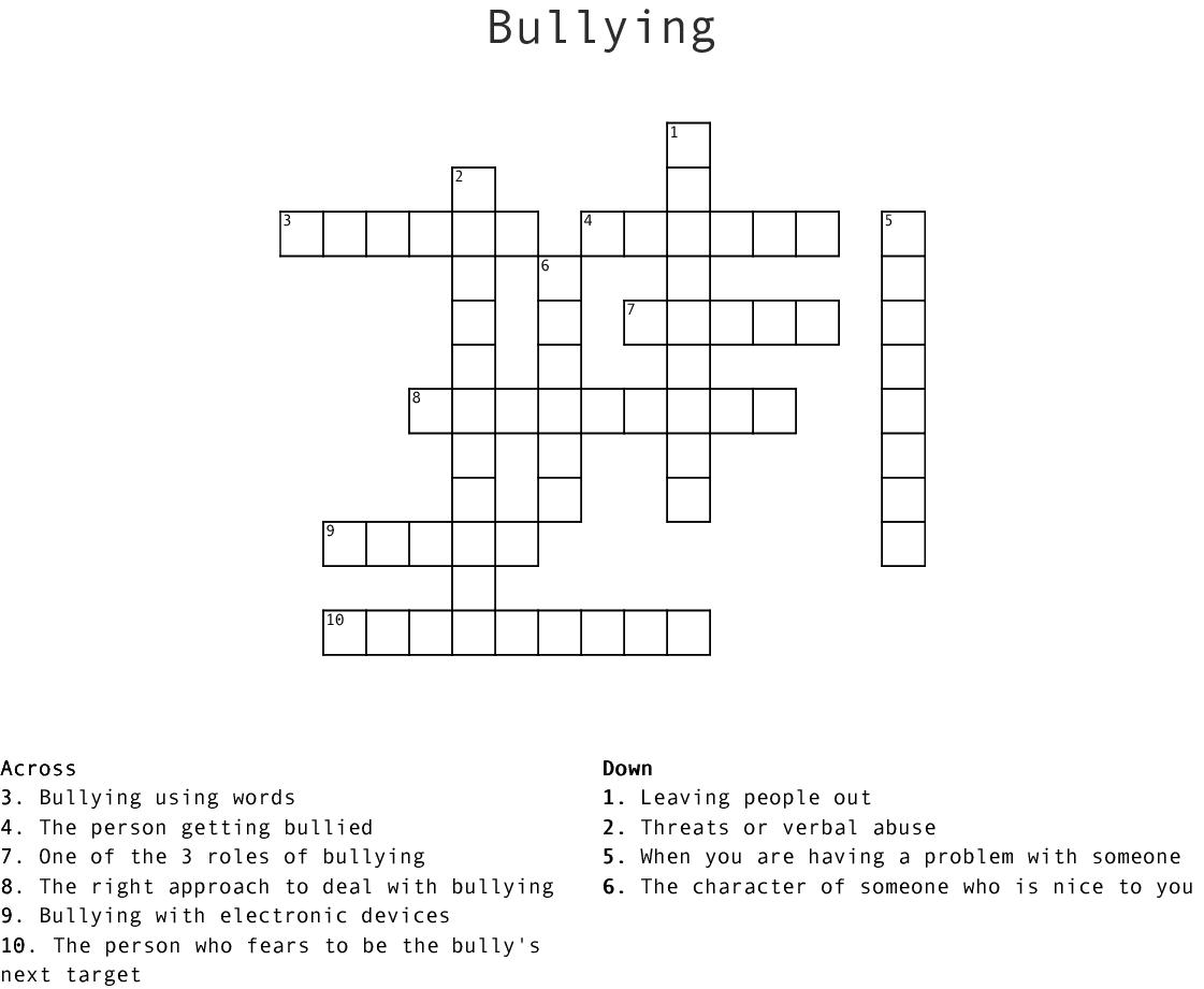 Bullying Crossword Wordmint