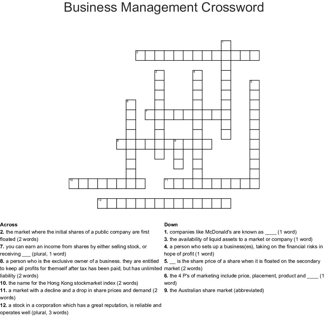 Business Management Crossword Wordmint