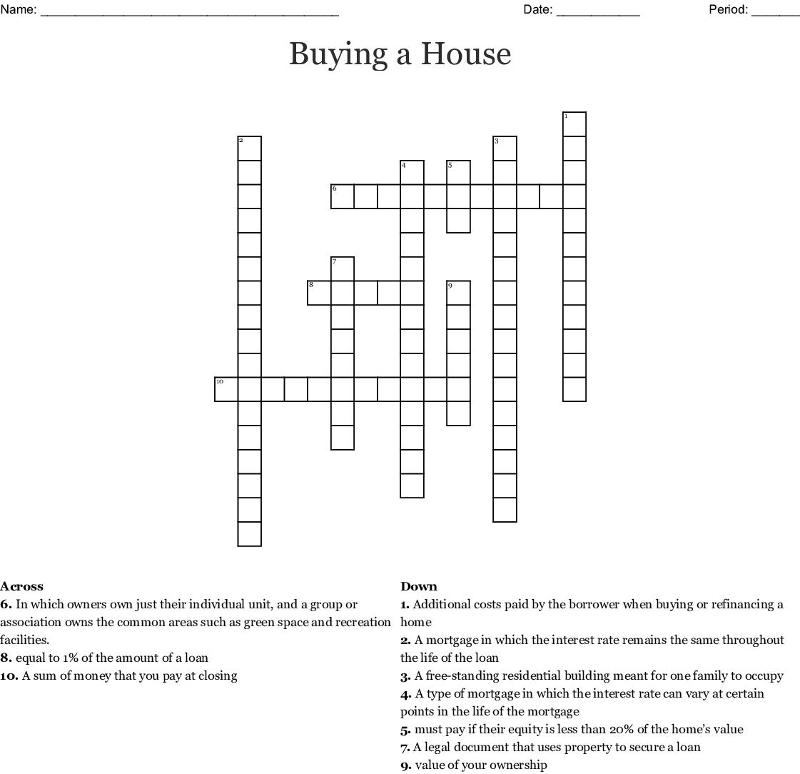 Buying A House Crossword Wordmint