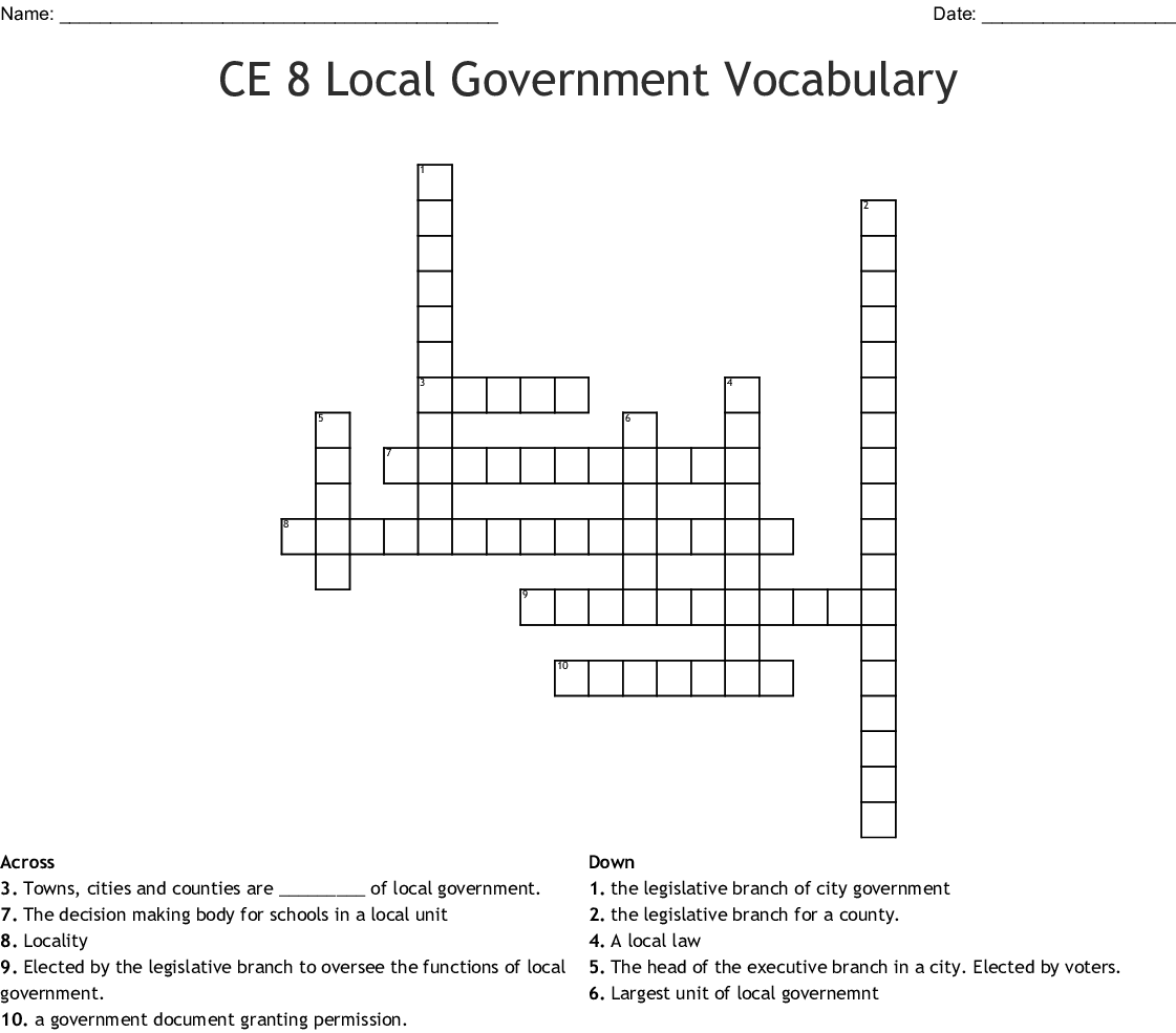 local government crossword - WordMint