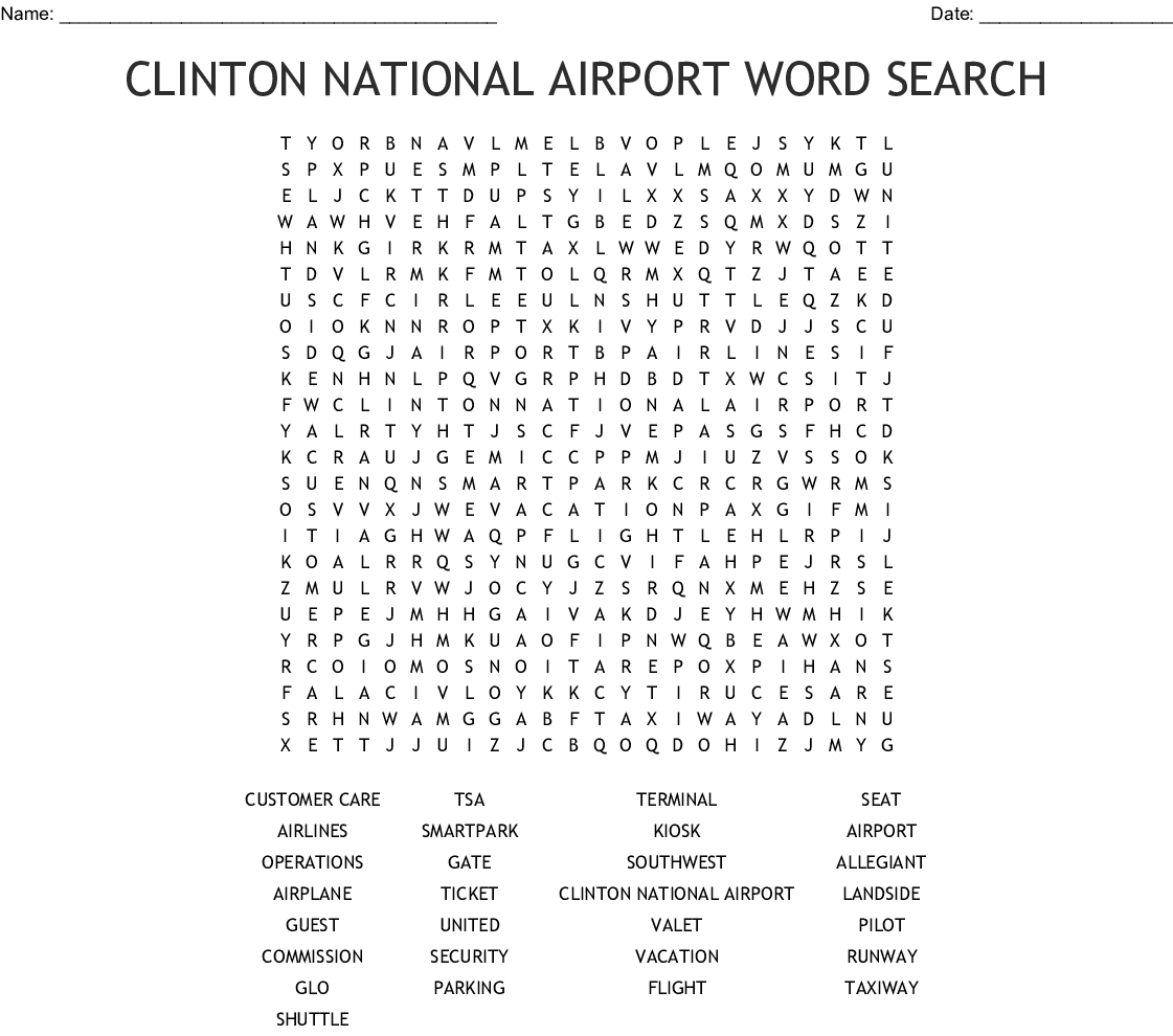 Airport Word Search Wordmint