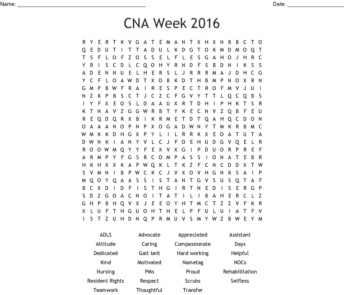 image relating to Free Printable Cna Inservices identify CNA 7 days 2016 Term Seem - WordMint