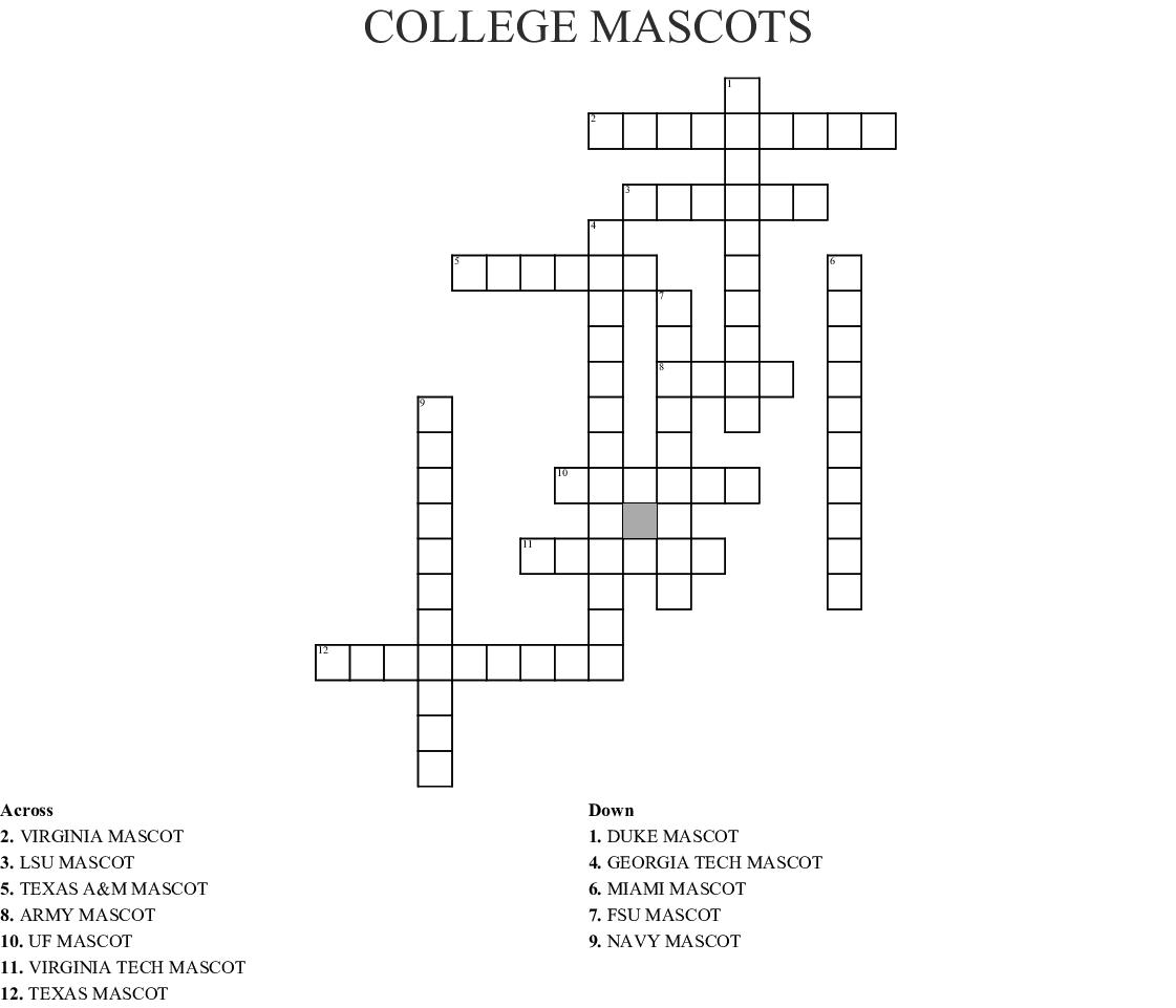 College Mascots Crossword Wordmint