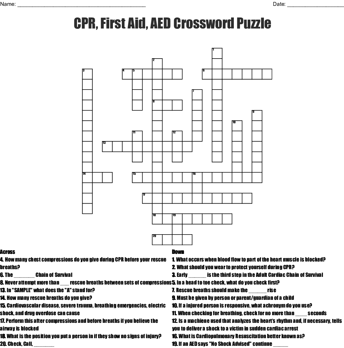 Cpr First Aid Aed Crossword Puzzle Wordmint