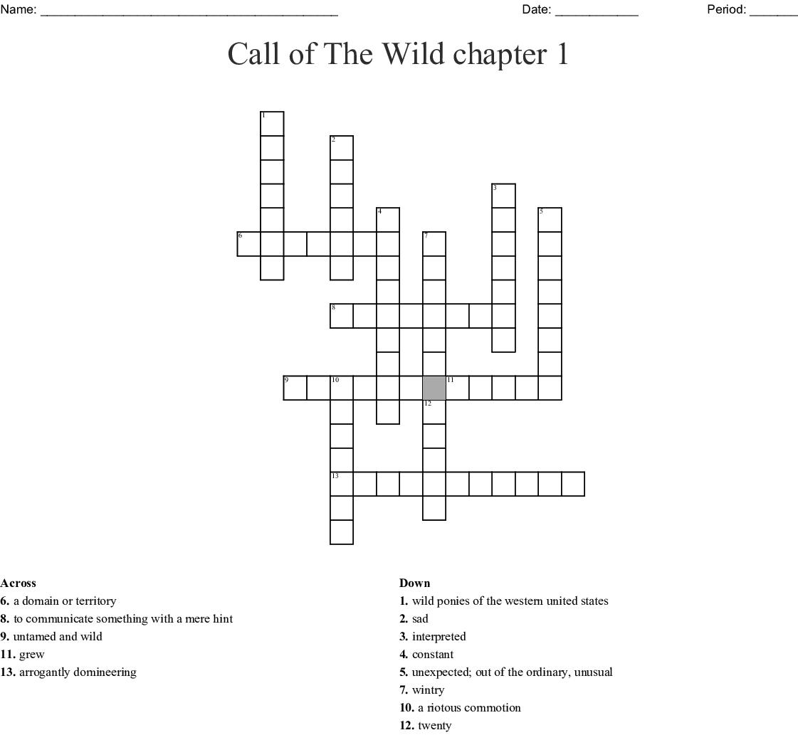 Call Of The Wild Crossword Puzzle Wordmint