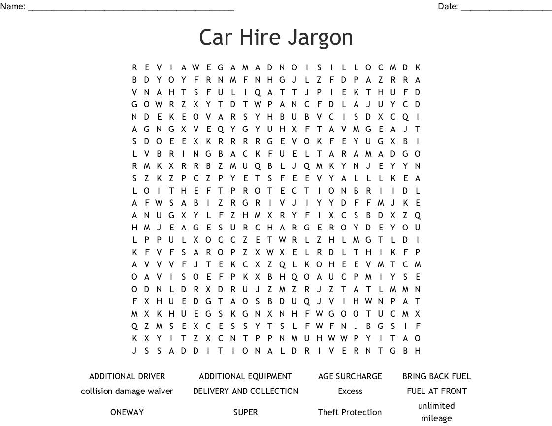 Car Hire Jargon Word Search - WordMint